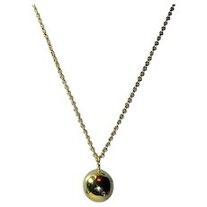 Vintage Diamond and 14K Gold Ball Pendant