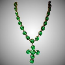 Vintage Bohemian Green Crystal Necklace