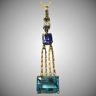 Vintage Diamond Sapphire and Topaz Gold Pendant