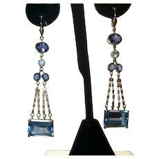 Vintage Topaz Diamond Sapphire and Iolite 18K Earrings