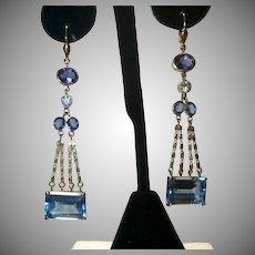 Vintage Topaz Diamond Sapphire and Iolite Earrings