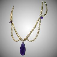 Cultured Pearl, Amethyst, 14K Swag Necklace