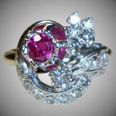 Vintage 18K Ruby & Diamond Ring