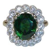 Tourmaline Halo Diamond Platinum Ring