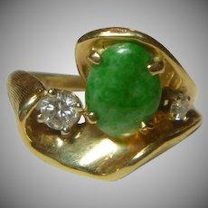 Vintage Jade, Diamond and 14 K Ring