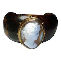 Antique Shell Cameo & Faux Tortoise Cuff Bracelet