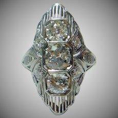 Elegant 3-Stone Diamond & Platinum Art Deco Ring