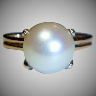 South Sea 9.5 mm Cultured Pearl Rose Gold Ring