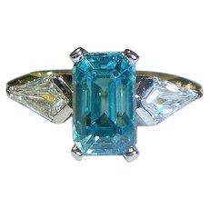 Magnificent Vintage Zircon, Diamond, Platinum, 18K Ring