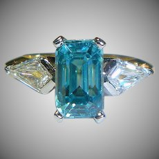 Unusual Vintage Zircon, Diamond, Platinum, 18K Ring