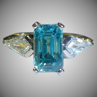 Magnificent Vintage Zircon, Diamond, Platinum, 18K Ring