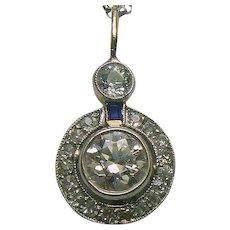 Estate 1.50 ct. Diamond & Sapphire Pendant