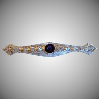 Stunning Platinum Diamond Sapphire Art Deco Bar Brooch by Brock & Co.