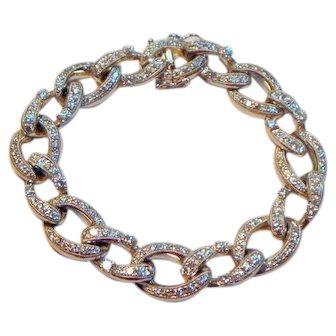 Stunning Diamond 18 K White Gold Link Bracelet