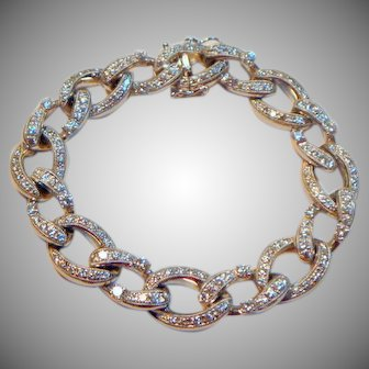 Stunning Diamond 18 K White Gold Link Bracelet