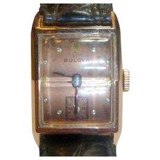 Vintage 1940's Solid 14 K Rose Gold Bulova Wristwatch