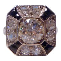 Vintage Art Deco 3 ct. Diamond, Onyx & Platinum Ring