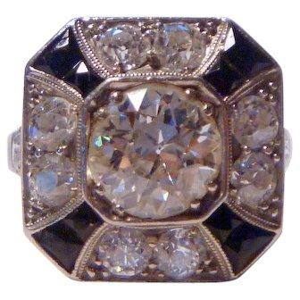 Vintage Art Deco 3 ct. Diamond, Onyx & Platinum Ring