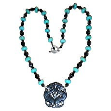 Jade Dragon Pendant, Whitby/French Jet, Howlite Necklace