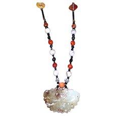 Jade Butterfly Pendant, Agate & Carnelian Necklace