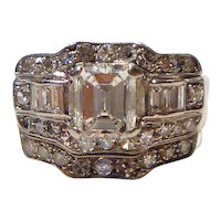 Fabulous Art Deco Emerald Cut 2.67 ct GIA Diamond & Platinum Wedding Ring Set