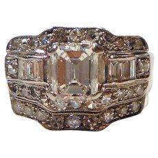 Fabulous Art Deco Emerald Cut 2.67 ct. Diamond & Platinum Wedding Ring Set