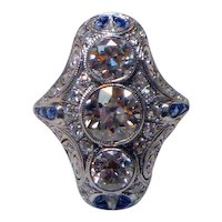 Art Deco Three Stone 3 Ct. Diamond & Sapphire Ring