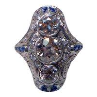 Art Deco Three Stone 3 Ct. Diamond & Sapphire Ring