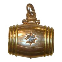 Victorian 14K Heavy Bi-color Gold .50 Ct Diamond Photo Locket or Watch Fob