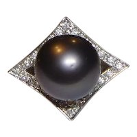 Vintage Black Tahitian 12.8 mm Pearl & Diamond 18k White Gold Ring