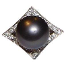 Vintage Black Tahitian 12.8 mm Pearl & Diamond 18k White Gold Ring