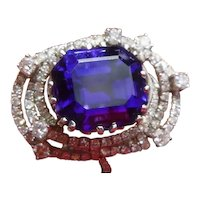 Magnificent Vintage Tanzanite & Diamond 18 K Ring