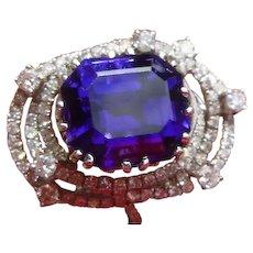 Magnificent Vintage Tanzanite & Diamond 18 K Ring