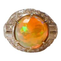 Estate Opal Diamond 18K Ring