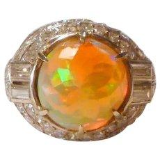 Estate Opal Diamond 18K Ring
