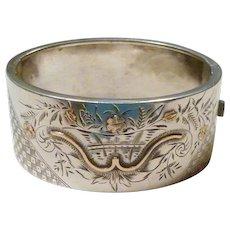 Antique English Sterling Silver & Gold Bracelet