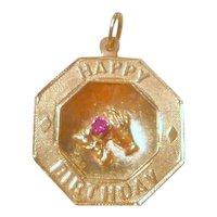 Vintage 1960's  14K Gold & Ruby Happy Birthday Charm