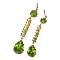Vintage Peridot Diamond 18K Gold Earrings