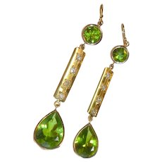 Vintage Peridot Diamond 18K Gold Earrings