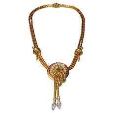 Superb French 18K Gold, Platinum and Diamond Convertible Retro Necklace / Brooch