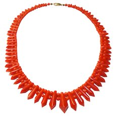Antique Victorian Natural Oxblood Coral Necklace