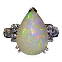 Vintage Opal, Diamond and Platinum Ring