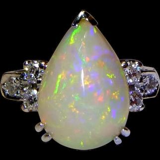 Vintage Opal, Diamond and Platinum Ring