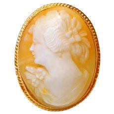 Vintage 14 K Gold Shell Cameo Ring