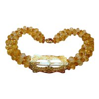 Vintage Citrine, Diamond and 14K Gold Necklace