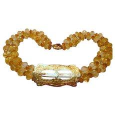 Vintage Citrine, Diamond and 14K Gold Necklace