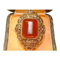 Vintage Carnelian, Marcasite, and Sterling Silver Ring