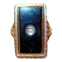 A Vintage 14 K Gold Onyx and Diamond Ring