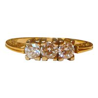 Vintage 14 Three Stone Diamond 14K Ring