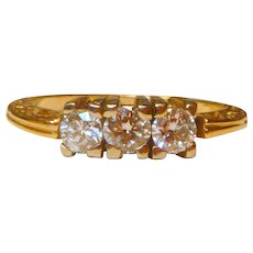 Vintage 14 Three Stone Diamond 14K Ring